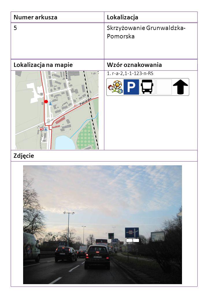 Numer arkuszaLokalizacja 5Skrzyżowanie Grunwaldzka- Pomorska Lokalizacja na mapieWzór oznakowania Zdjęcie 1. r-a-2,1-1-123-n-RS 1