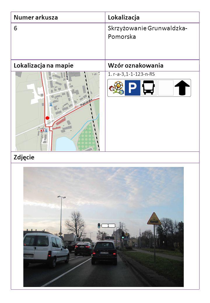 Numer arkuszaLokalizacja 6Skrzyżowanie Grunwaldzka- Pomorska Lokalizacja na mapieWzór oznakowania Zdjęcie 1. r-a-3,1-1-123-n-RS 1