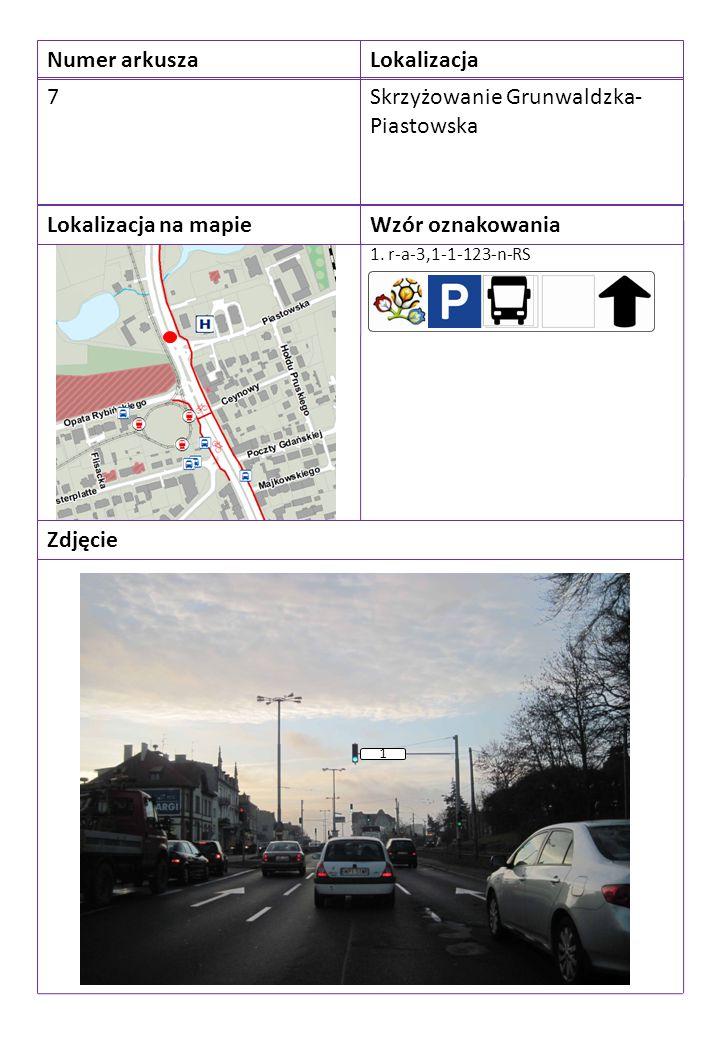 Numer arkuszaLokalizacja 7Skrzyżowanie Grunwaldzka- Piastowska Lokalizacja na mapieWzór oznakowania Zdjęcie 1. r-a-3,1-1-123-n-RS 1