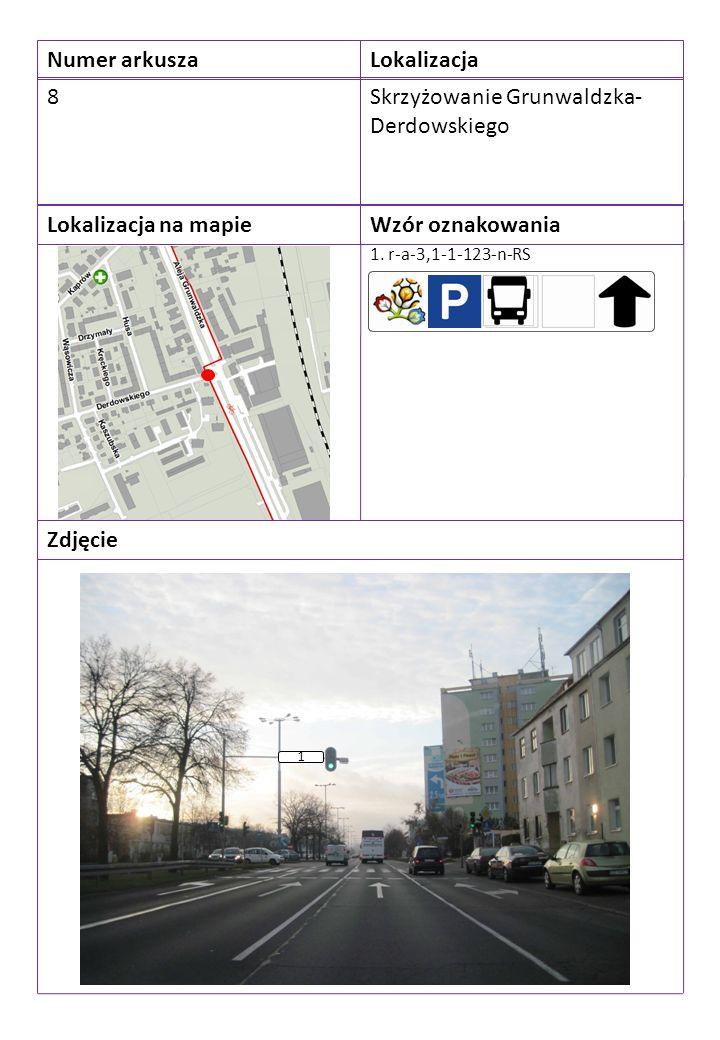 Numer arkuszaLokalizacja 8Skrzyżowanie Grunwaldzka- Derdowskiego Lokalizacja na mapieWzór oznakowania Zdjęcie 1. r-a-3,1-1-123-n-RS 1
