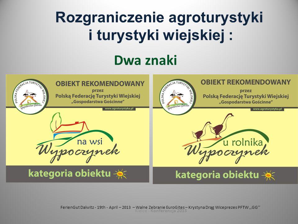 FerienGut Dalwitz - 19th - April – 2013 – Walne Zebranie EuroGites – Krystyna Drąg Wiceprezes PFTW,,GG'' Kielce - Konferencja 2013 Rozgraniczenie agroturystyki i turystyki wiejskiej : Dwa znaki