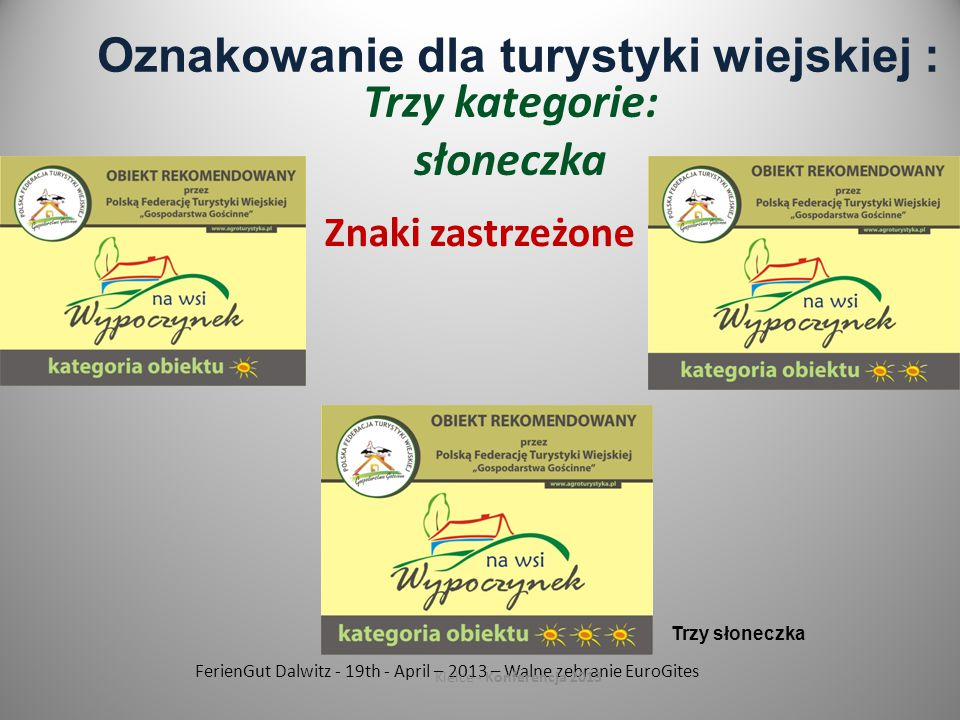 FerienGut Dalwitz - 19th - April – 2013 – Walne zebranie EuroGites Kielce - Konferencja 2013 Oznakowanie dla turystyki wiejskiej : Trzy kategorie: słoneczka Znaki zastrzeżone Trzy słoneczka