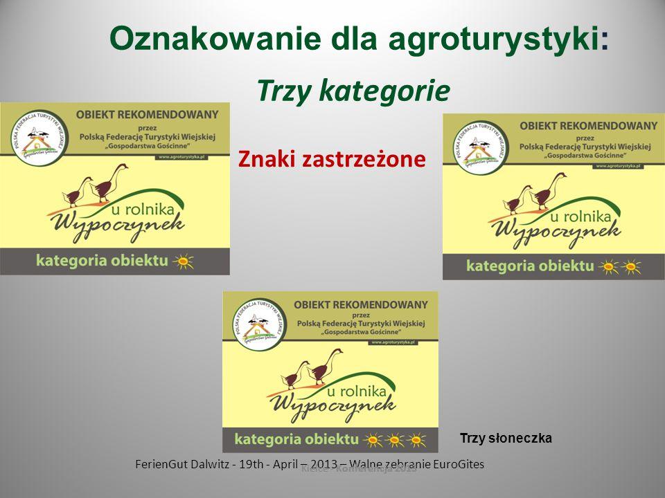 FerienGut Dalwitz - 19th - April – 2013 – Walne zebranie EuroGites Kielce - Konferencja 2013 Znaki zastrzeżone Kielce - Konferencja 2013 Oznakowanie dla agroturystyki: Trzy kategorie Trzy słoneczka