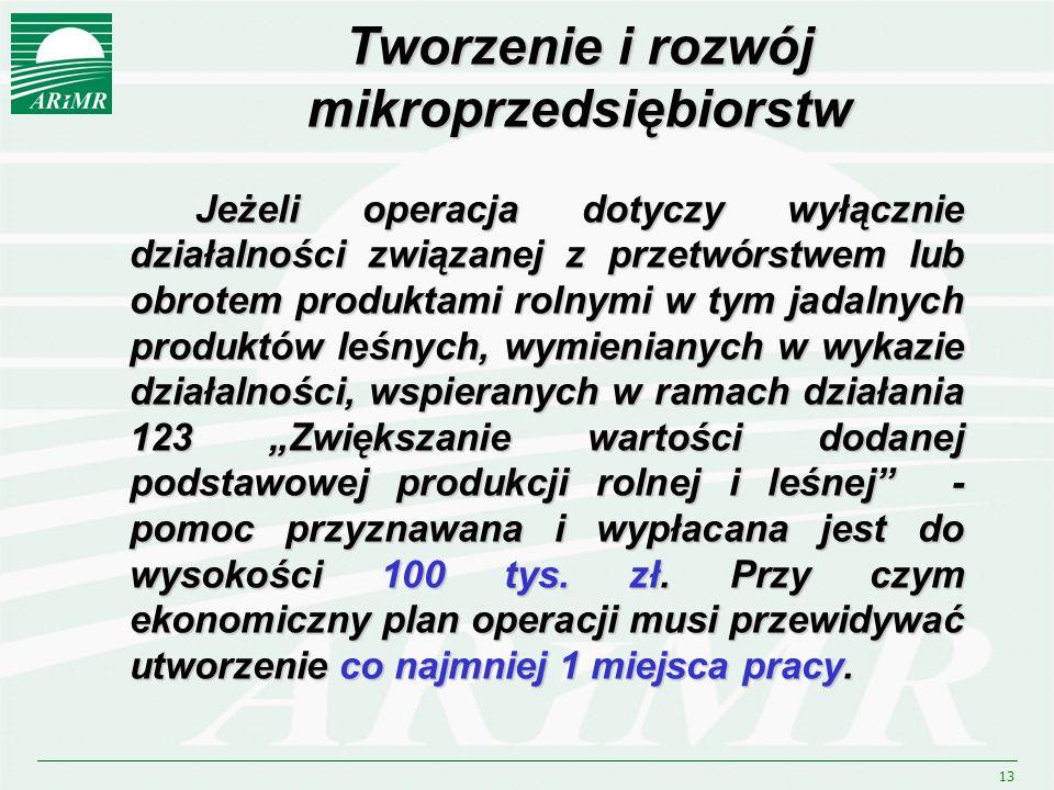 13 Jeżeli operacja dotyczy wyłącznie działalności związanej z przetwórstwem lub obrotem produktami rolnymi w tym jadalnych produktów leśnych, wymienia
