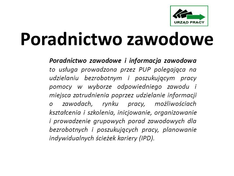 W roku 2010 poradnictwem zawodowym objęto: porady indywidualne: 1259 osób porady grupowe z zakresu poszukiwania pracy, określenia własnej ścieżki zawodowej i budowania IPD- 87 grup (842 osoby) informacja zawodowa: 1 grupa- 13 osób Informacja zawodowa- porady indywidualne-41 osób