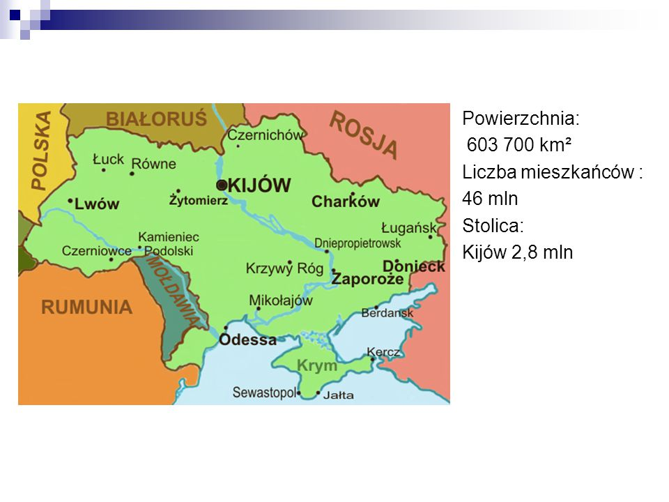 Powierzchnia: 603 700 km² Liczba mieszkańców : 46 mln Stolica: Kijów 2,8 mln