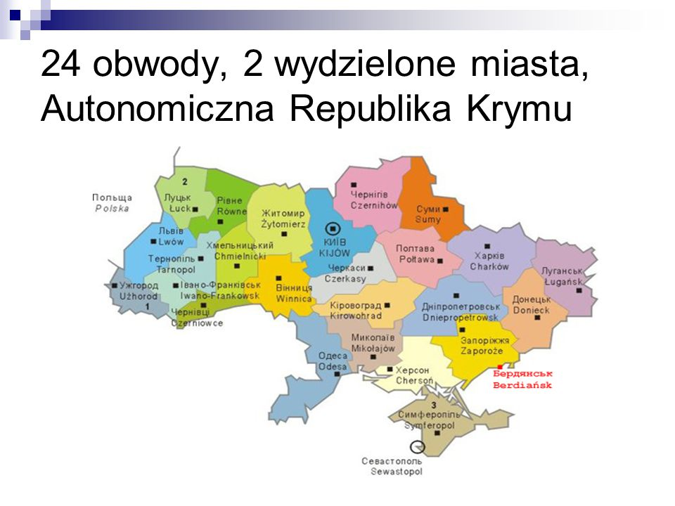 24 obwody, 2 wydzielone miasta, Autonomiczna Republika Krymu