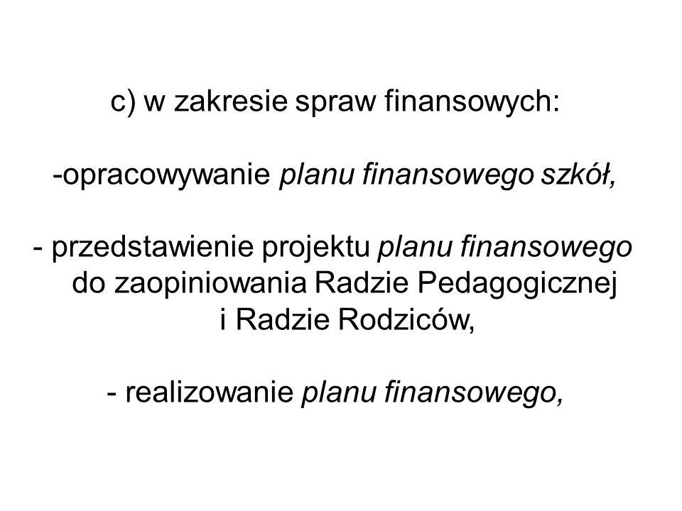 c) w zakresie spraw finansowych: -opracowywanie planu finansowego szkół, - przedstawienie projektu planu finansowego do zaopiniowania Radzie Pedagogic