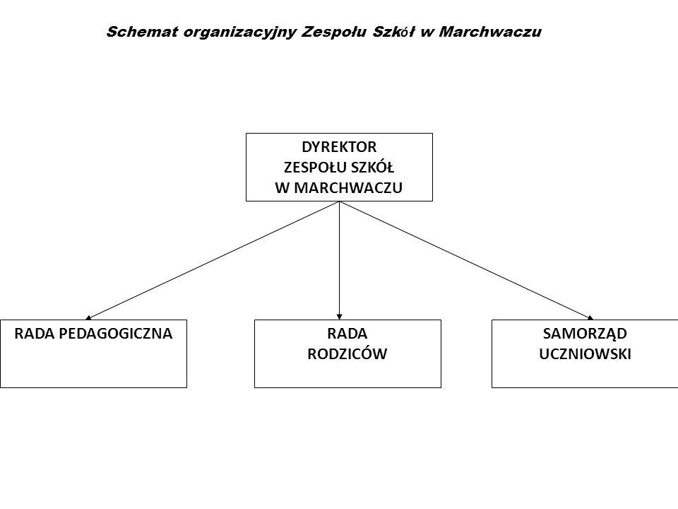 Schemat organizacyjny Zespołu Szk ó ł w Marchwaczu RADA PEDAGOGICZNARADA RODZICÓW SAMORZĄD UCZNIOWSKI DYREKTOR ZESPOŁU SZKÓŁ W MARCHWACZU