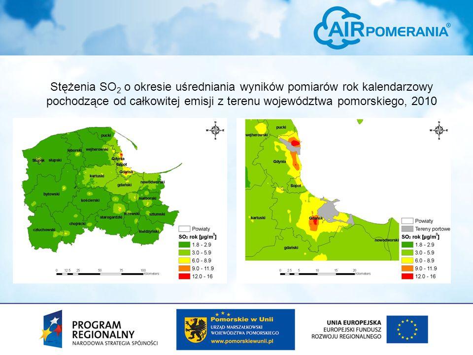Stężenia SO 2 o okresie uśredniania wyników pomiarów rok kalendarzowy pochodzące od całkowitej emisji z terenu województwa pomorskiego, 2010