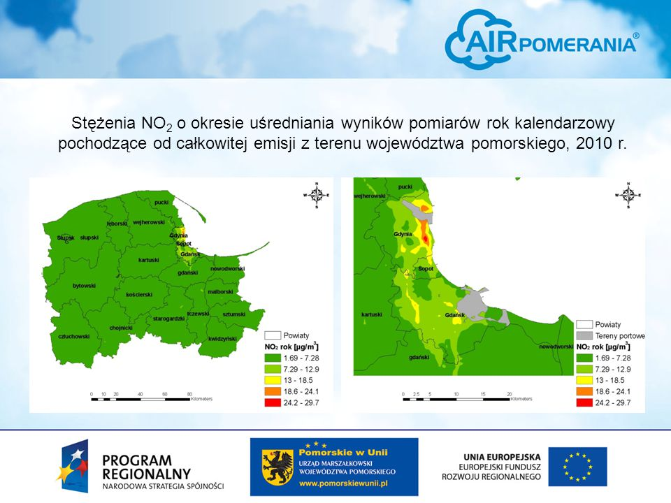 Stężenia NO 2 o okresie uśredniania wyników pomiarów rok kalendarzowy pochodzące od całkowitej emisji z terenu województwa pomorskiego, 2010 r.