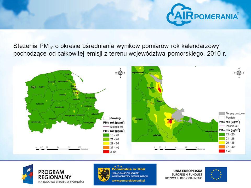 Stężenia PM 10 o okresie uśredniania wyników pomiarów rok kalendarzowy pochodzące od całkowitej emisji z terenu województwa pomorskiego, 2010 r.