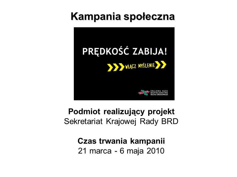 Podmiot realizujący projekt Sekretariat Krajowej Rady BRD Czas trwania kampanii 21 marca - 6 maja 2010 Kampania społeczna