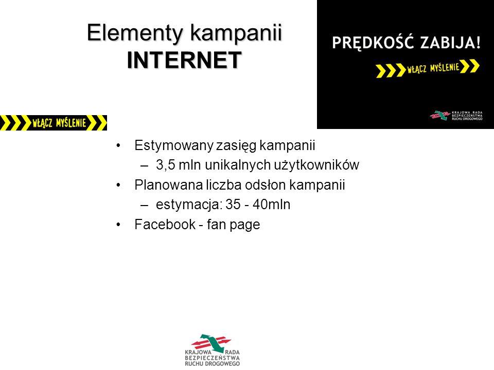 Elementy kampanii INTERNET Estymowany zasięg kampanii –3,5 mln unikalnych użytkowników Planowana liczba odsłon kampanii –estymacja: 35 - 40mln Facebook - fan page