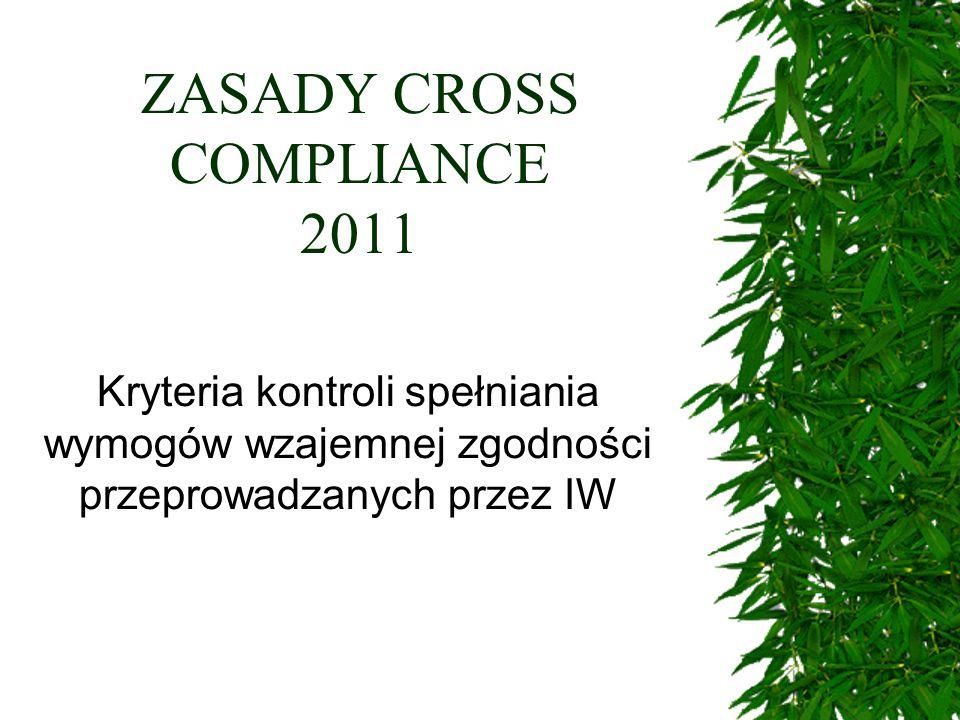 ZASADY CROSS COMPLIANCE 2011 Kryteria kontroli spełniania wymogów wzajemnej zgodności przeprowadzanych przez IW