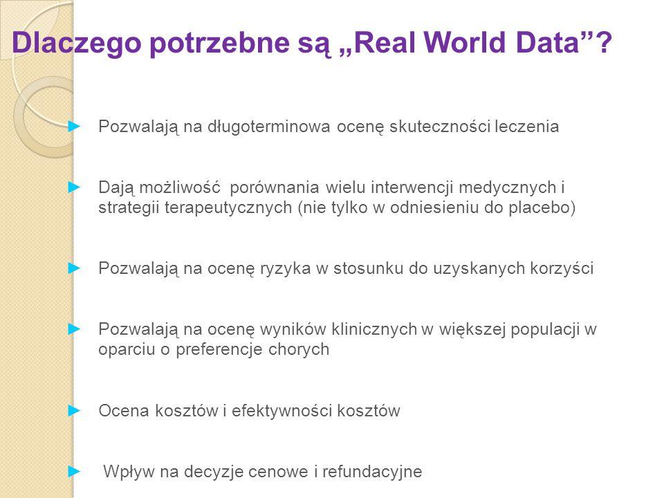 """Dlaczego potrzebne są """"Real World Data""""? ►Pozwalają na długoterminowa ocenę skuteczności leczenia ►Dają możliwość porównania wielu interwencji medyczn"""