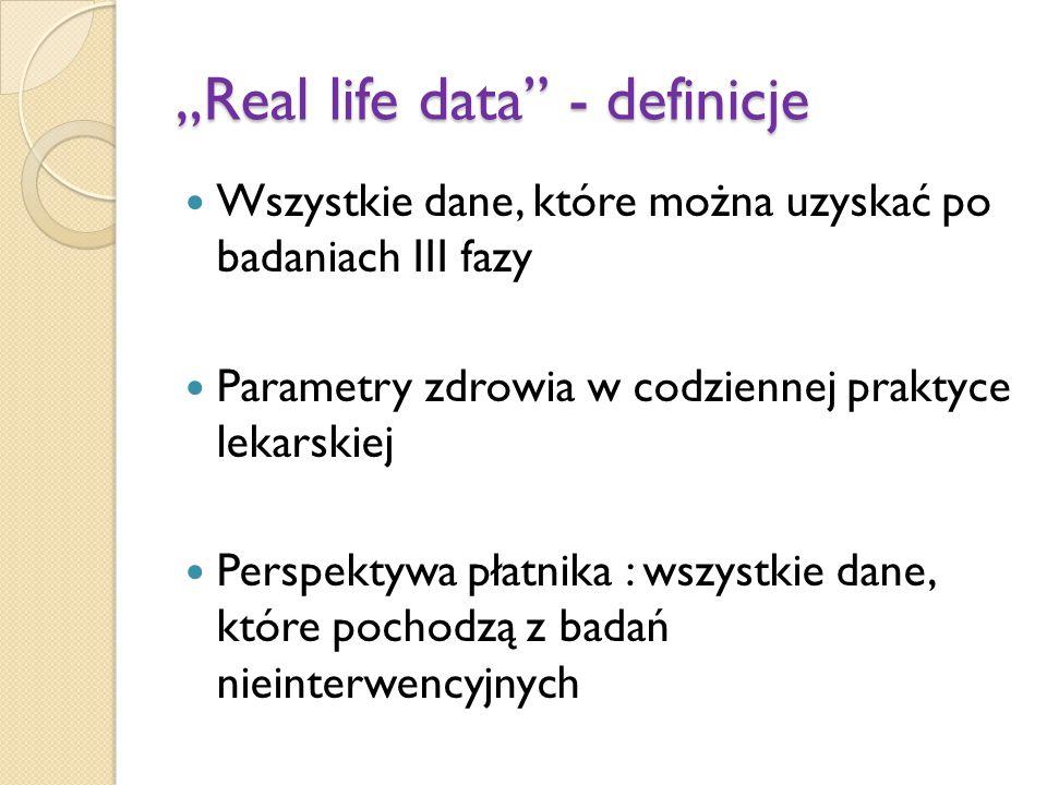 """""""Real life data"""" - definicje Wszystkie dane, które można uzyskać po badaniach III fazy Parametry zdrowia w codziennej praktyce lekarskiej Perspektywa"""