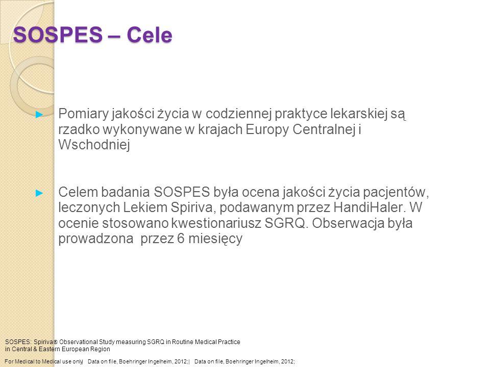 SOSPES – Cele ► Pomiary jakości życia w codziennej praktyce lekarskiej są rzadko wykonywane w krajach Europy Centralnej i Wschodniej ► Celem badania S
