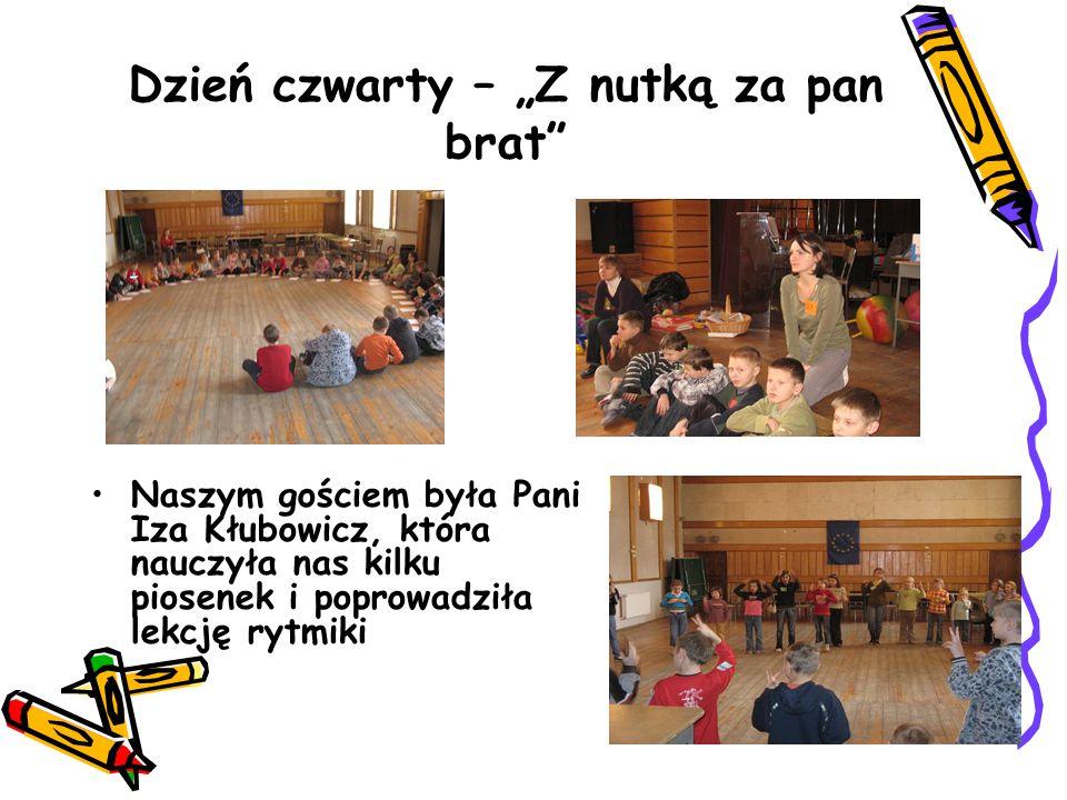 """Dzień czwarty – """"Z nutką za pan brat Naszym gościem była Pani Iza Kłubowicz, która nauczyła nas kilku piosenek i poprowadziła lekcję rytmiki"""