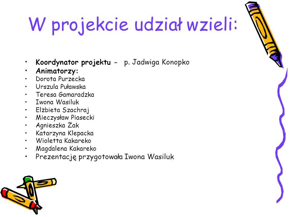 W projekcie udział wzieli: Koordynator projektu - p.