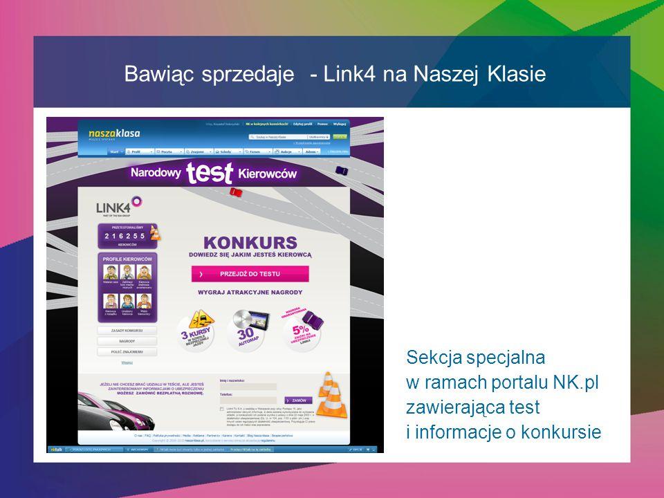 Bawiąc sprzedaje - Link4 na Naszej Klasie Sekcja specjalna w ramach portalu NK.pl zawierająca test i informacje o konkursie
