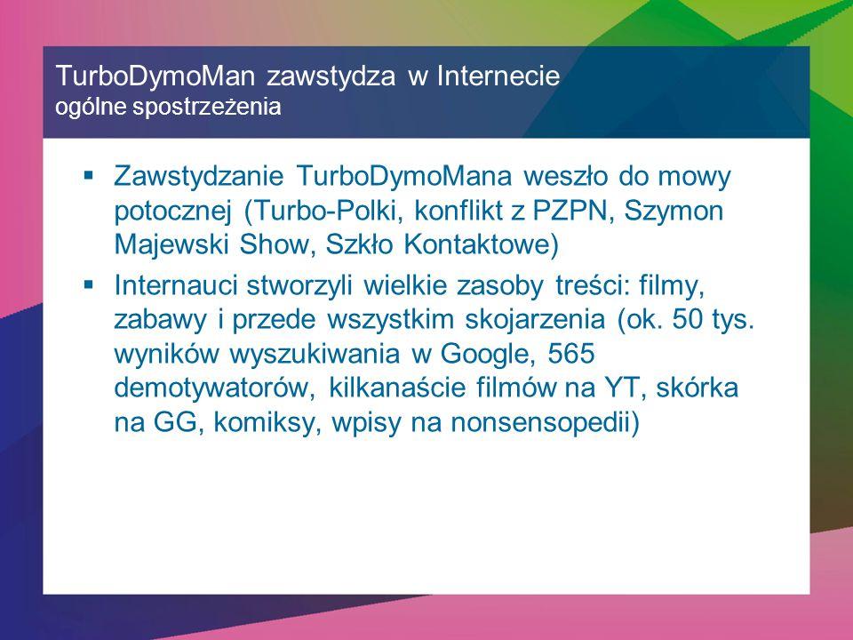 TurboDymoMan zawstydza w Internecie ogólne spostrzeżenia  Zawstydzanie TurboDymoMana weszło do mowy potocznej (Turbo-Polki, konflikt z PZPN, Szymon Majewski Show, Szkło Kontaktowe)  Internauci stworzyli wielkie zasoby treści: filmy, zabawy i przede wszystkim skojarzenia (ok.