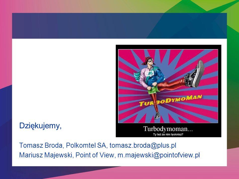Dziękujemy, Tomasz Broda, Polkomtel SA, tomasz.broda@plus.pl Mariusz Majewski, Point of View, m.majewski@pointofview.pl