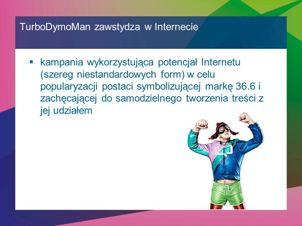 TurboDymoMan zawstydza w Internecie  kampania wykorzystująca potencjał Internetu (szereg niestandardowych form) w celu popularyzacji postaci symbolizującej markę 36.6 i zachęcającej do samodzielnego tworzenia treści z jej udziałem