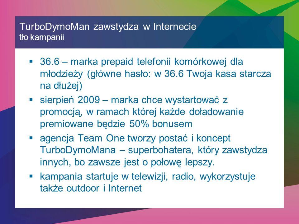 TurboDymoMan zawstydza w Internecie tło kampanii  36.6 – marka prepaid telefonii komórkowej dla młodzieży (główne hasło: w 36.6 Twoja kasa starcza na dłużej)  sierpień 2009 – marka chce wystartować z promocją, w ramach której każde doładowanie premiowane będzie 50% bonusem  agencja Team One tworzy postać i koncept TurboDymoMana – superbohatera, który zawstydza innych, bo zawsze jest o połowę lepszy.
