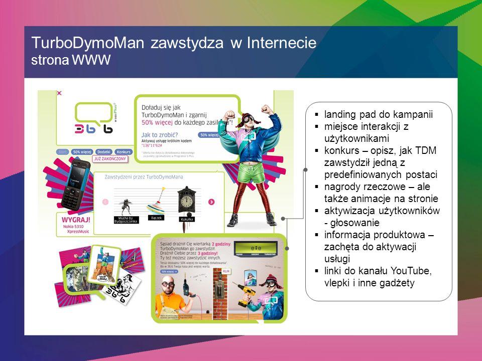 TurboDymoMan zawstydza w Internecie strona WWW  landing pad do kampanii  miejsce interakcji z użytkownikami  konkurs – opisz, jak TDM zawstydził jedną z predefiniowanych postaci  nagrody rzeczowe – ale także animacje na stronie  aktywizacja użytkowników - głosowanie  informacja produktowa – zachęta do aktywacji usługi  linki do kanału YouTube, vlepki i inne gadżety