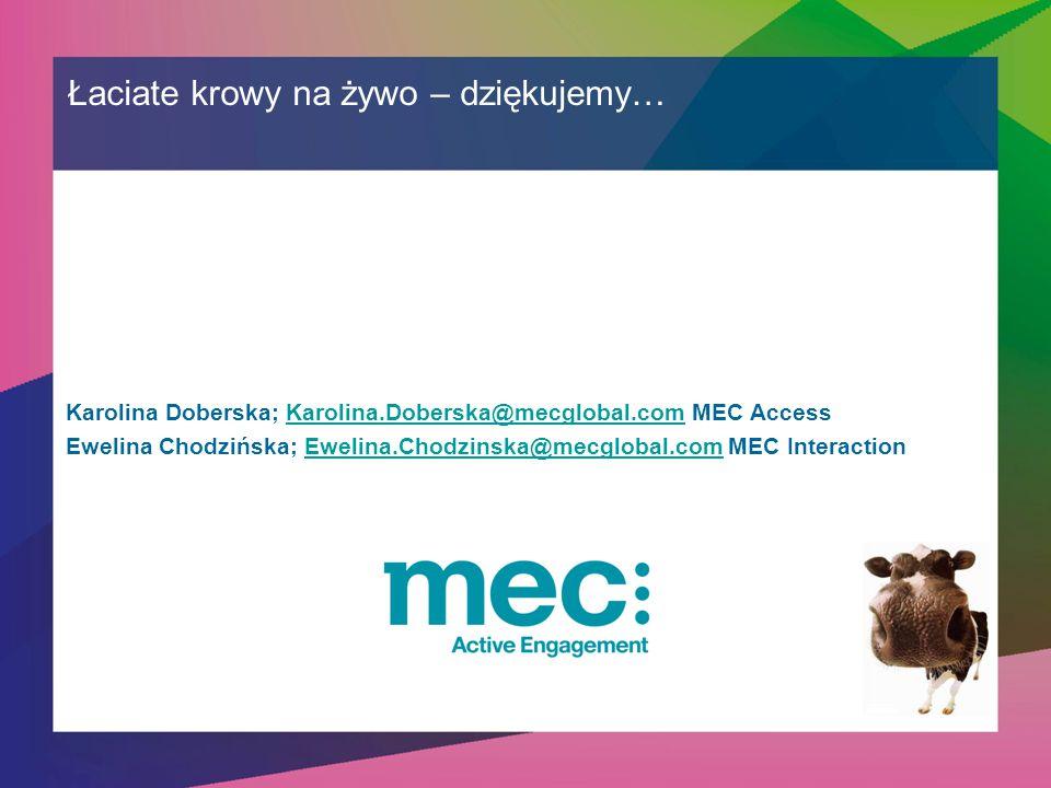 Łaciate krowy na żywo – dziękujemy… Karolina Doberska; Karolina.Doberska@mecglobal.com MEC AccessKarolina.Doberska@mecglobal.com Ewelina Chodzińska; Ewelina.Chodzinska@mecglobal.com MEC InteractionEwelina.Chodzinska@mecglobal.com