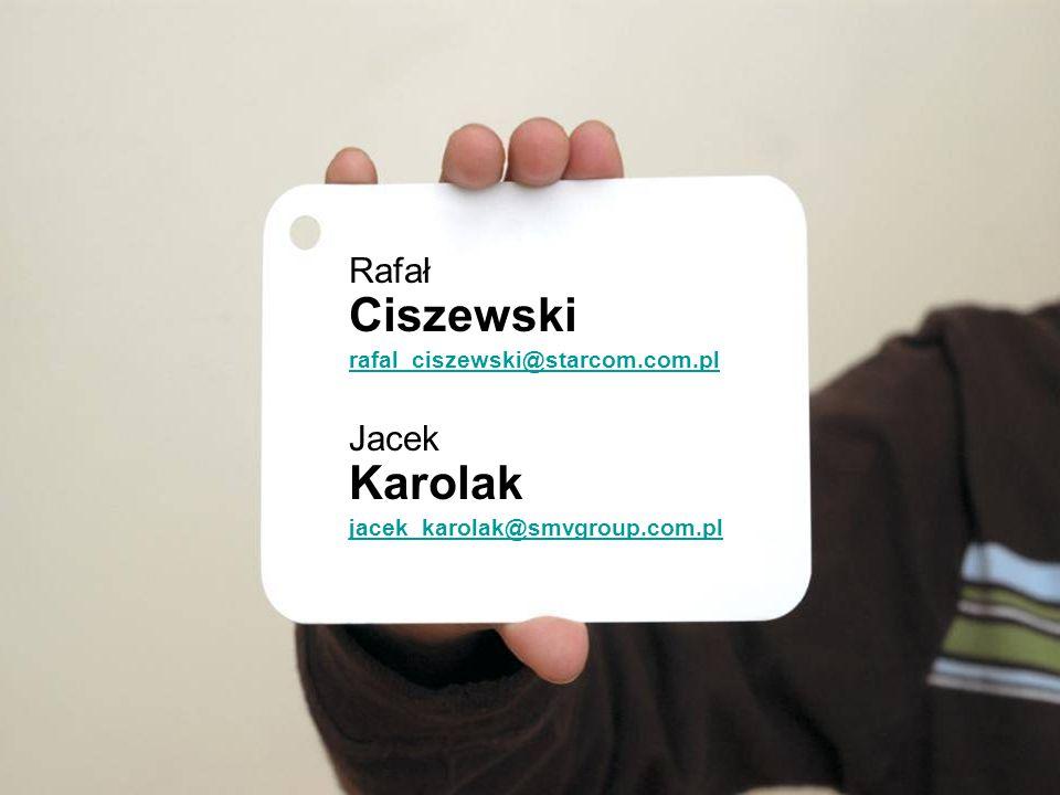 Rafał Ciszewski rafal_ciszewski@starcom.com.pl Jacek Karolak jacek_karolak@smvgroup.com.pl