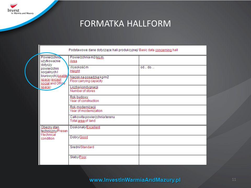 www.InvestInWarmiaAndMazury.pl FORMATKA HALLFORM 11