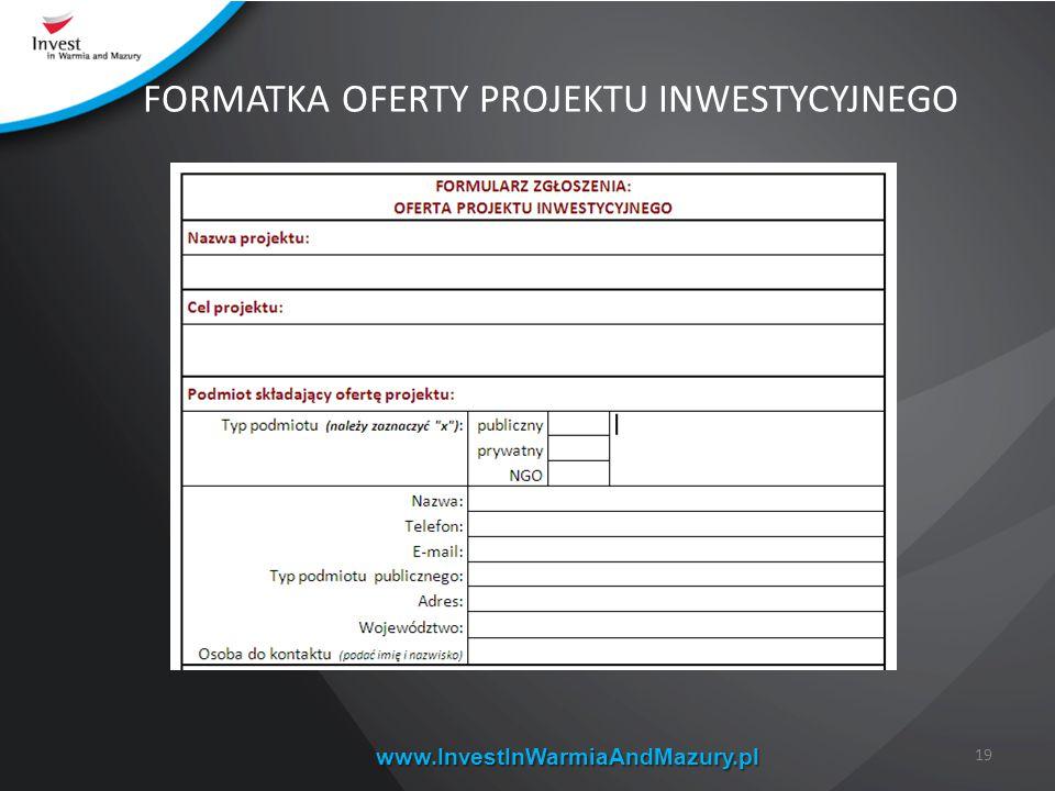 www.InvestInWarmiaAndMazury.pl 19 FORMATKA OFERTY PROJEKTU INWESTYCYJNEGO