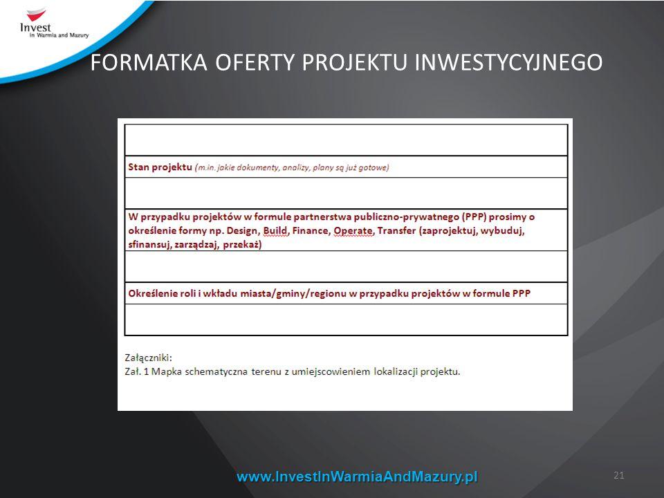 www.InvestInWarmiaAndMazury.pl 21 FORMATKA OFERTY PROJEKTU INWESTYCYJNEGO