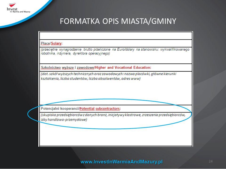www.InvestInWarmiaAndMazury.pl 24 FORMATKA OPIS MIASTA/GMINY