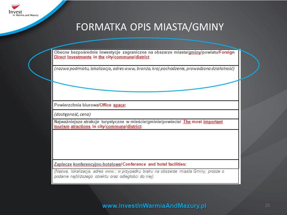 www.InvestInWarmiaAndMazury.pl 25 FORMATKA OPIS MIASTA/GMINY