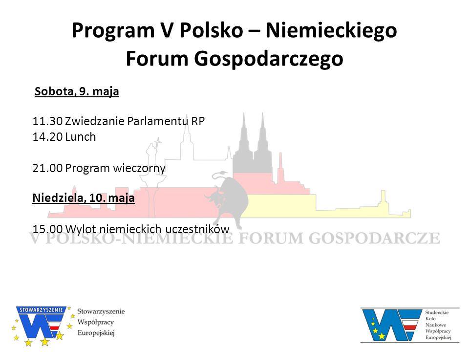 Program V Polsko – Niemieckiego Forum Gospodarczego Sobota, 9.