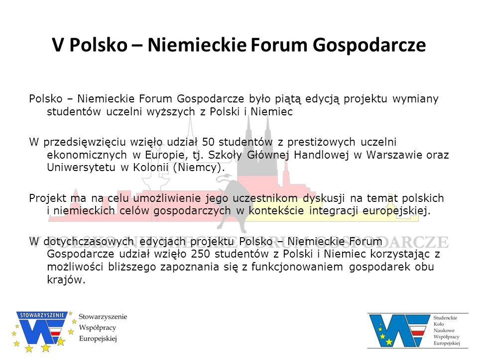 Program V Polsko – Niemieckiego Forum Gospodarczego  Część niemiecka: 22 – 26 kwietnia 2009, Kolonia  Część polska: 6 – 10 maja 2009, Warszawa