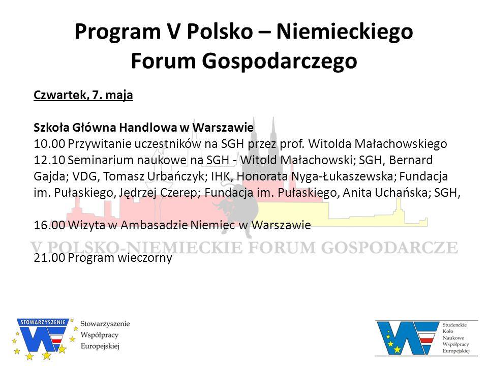 Prelegenci V Polsko – Niemieckiego Forum Gospodarczego Ireneusz Bil Zakład Badań nad Gospodarką Niemiecką, Szkoła Główna Handlowa Wykład na Giełdzie Papierów Wartościowych
