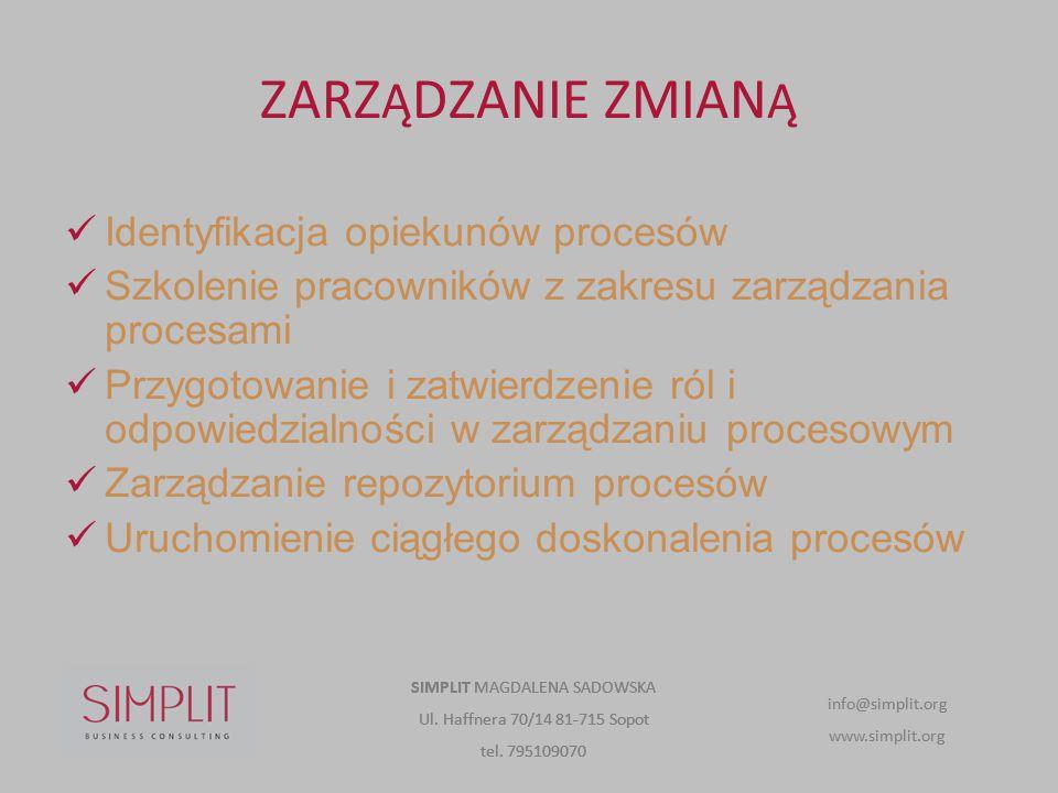 ZARZ Ą DZANIE ZMIAN Ą Identyfikacja opiekunów procesów Szkolenie pracowników z zakresu zarządzania procesami Przygotowanie i zatwierdzenie ról i odpow