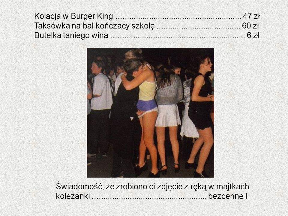 Kolacja w Burger King......................................................... 47 zł Taksówka na bal kończący szkołę..................................