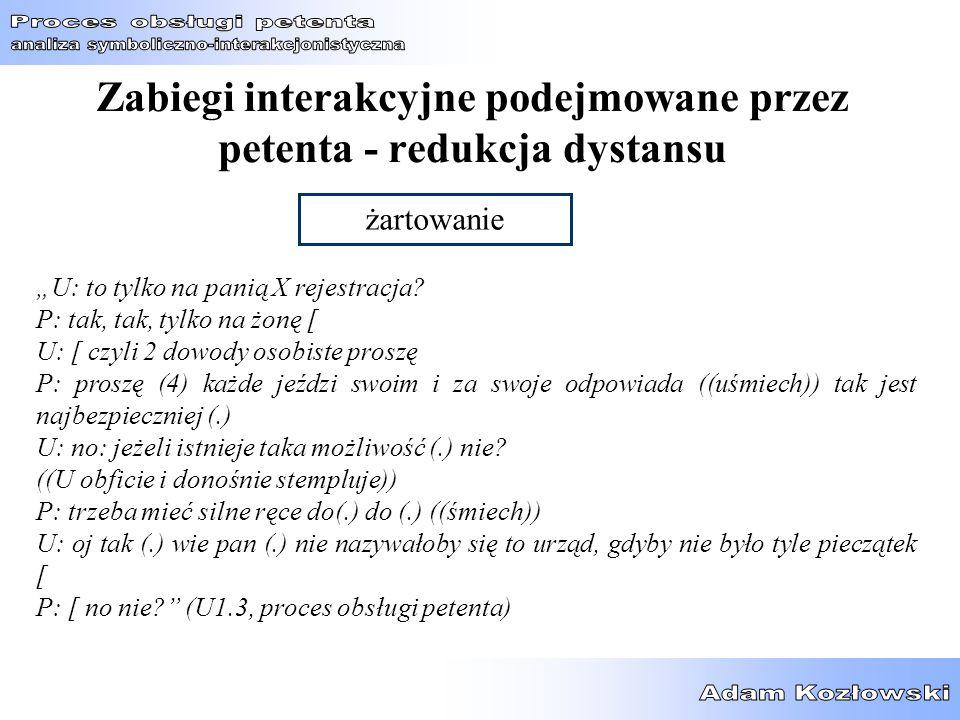 """Zabiegi interakcyjne podejmowane przez petenta - redukcja dystansu żartowanie """"U: to tylko na panią X rejestracja? P: tak, tak, tylko na żonę [ U: [ c"""