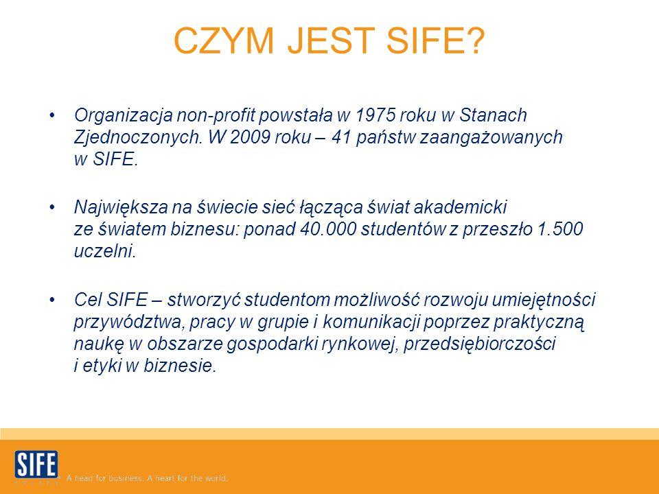 CZYM JEST SIFE? Organizacja non-profit powstała w 1975 roku w Stanach Zjednoczonych. W 2009 roku – 41 państw zaangażowanych w SIFE. Największa na świe