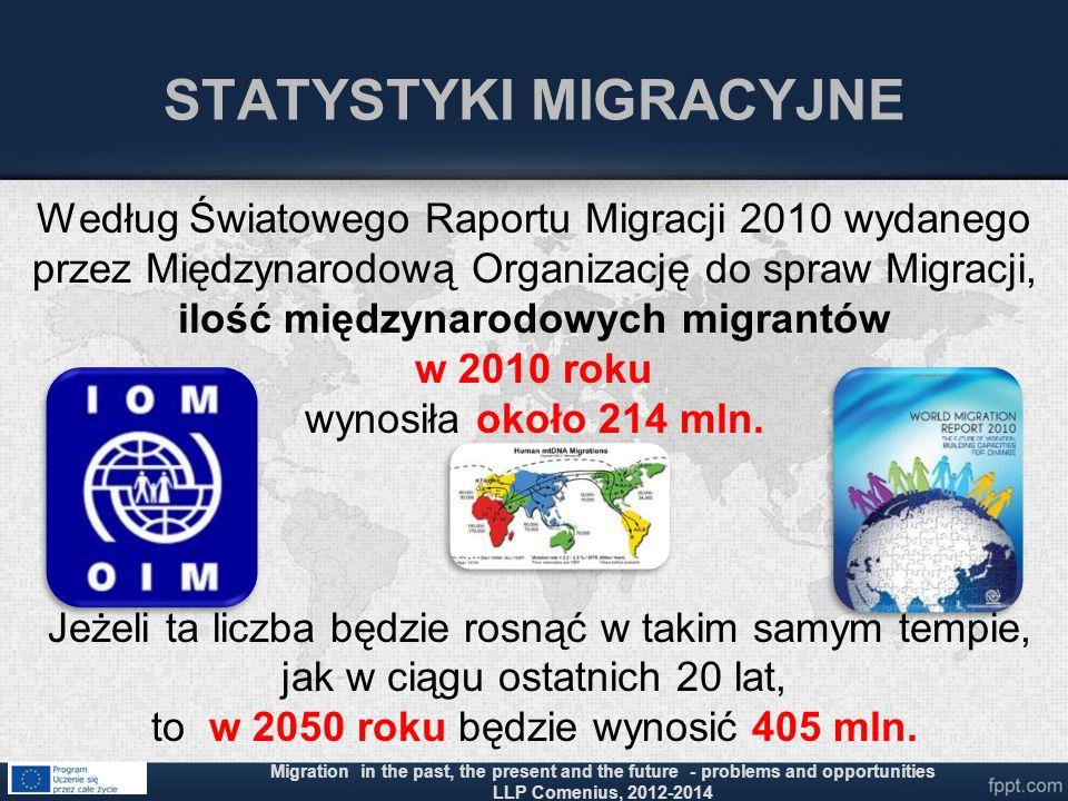 STATYSTYKI MIGRACYJNE Według Światowego Raportu Migracji 2010 wydanego przez Międzynarodową Organizację do spraw Migracji, ilość międzynarodowych migr