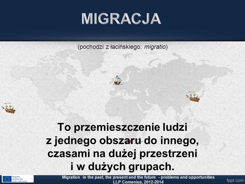 To przemieszczenie ludzi z jednego obszaru do innego, czasami na dużej przestrzeni i w dużych grupach. Migration in the past, the present and the futu