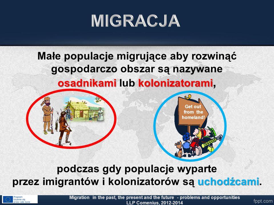 osadnikami kolonizatorami Małe populacje migrujące aby rozwinąć gospodarczo obszar są nazywane osadnikami lub kolonizatorami, uchodźcami podczas gdy p
