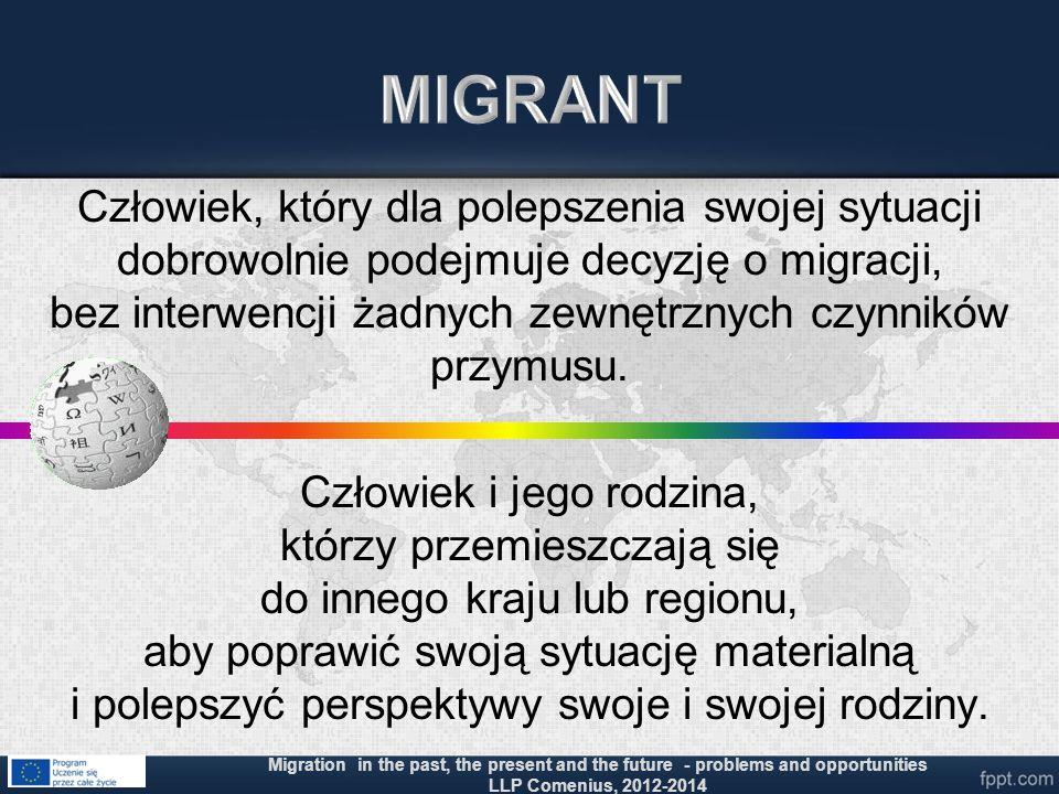 Człowiek, który dla polepszenia swojej sytuacji dobrowolnie podejmuje decyzję o migracji, bez interwencji żadnych zewnętrznych czynników przymusu. Czł