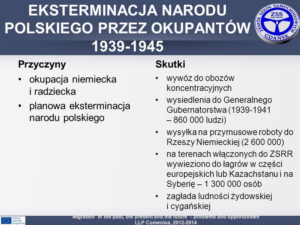 Przyczyny okupacja niemiecka i radziecka planowa eksterminacja narodu polskiego Skutki wywóz do obozów koncentracyjnych wysiedlenia do Generalnego Gub