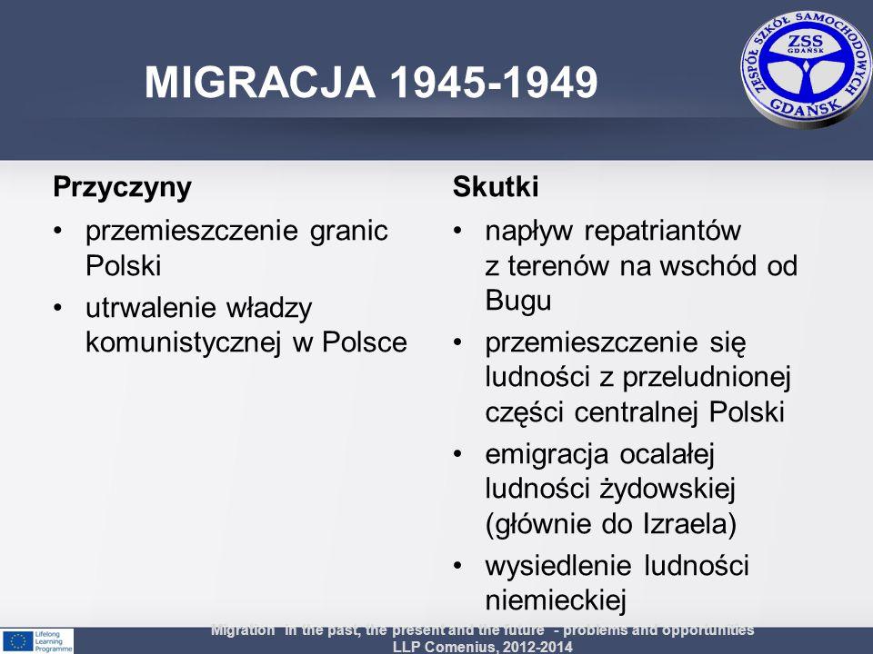 Przyczyny przemieszczenie granic Polski utrwalenie władzy komunistycznej w Polsce Skutki napływ repatriantów z terenów na wschód od Bugu przemieszczen